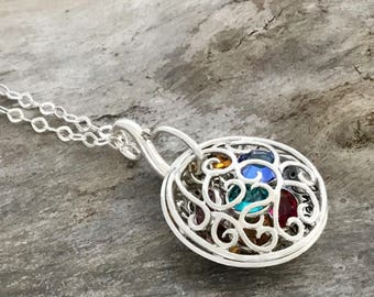 Mother's Necklace Personalize. Mother Necklace with Birthstones. STERLING SILVER. Mom Necklace.