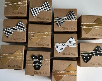 20 bow tie favor boxes -  Little man baby shower black and gold shower -  black and gold little man -  favor boxes black and gold -