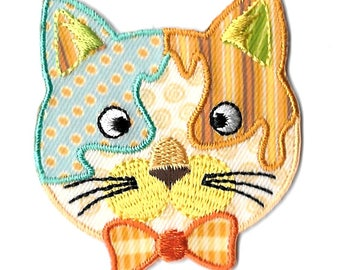 Cat- Kitten - Pet - Feline Head - Patterned - Embroidered Iron On Applique Patch