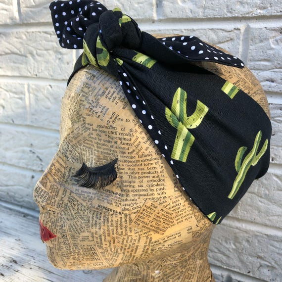 Cactus Polka Dot Headscarves Rockabilly Pinup 1950's Inspired
