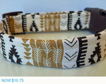 """Sale - 50% Off Dog Collar - Modern Unisex Aztec Brown & Tan Stripes and Arrows """"Leaha"""""""