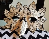 Masquerade Mask - Vintage Sheet Music and Black Jewel  Handmade Mask - Decoupaged Sheet Music Mask - Gift for Musician - Music Art and Decor