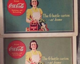 Art Deco Coca Cola Ad 1940s Paper Coke Memorabilia Vintage Coupons, COLA ADVERTISING 1940s-50s Free Coke 6 Pack Opelika Coca-Cola Bottle