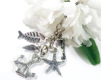 Nautical Keychain, Silver Charm Keychain, Anchor Keychain Nautical Key Holder, Gift for Boater Beach Keychain Anchor Key Chain, Sailor Gifts