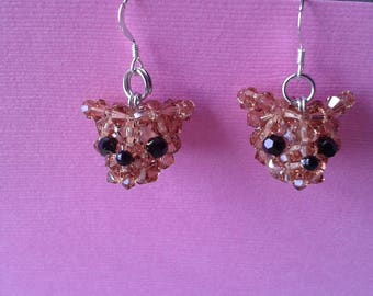 Chihuahua Earrings - Swarovski Crystal Beads With Sterling Silver Earring