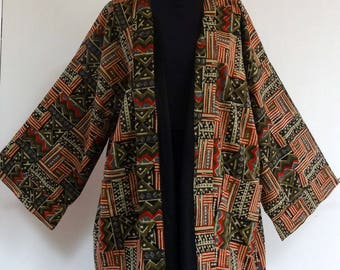 Kimono jacket with large collar in black, beige, green and Burgundy ethnic print cotton.  reversible solid black inside
