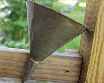 tin funnel 7 inches long x 5 1/2 inches wide with small loop for hanging -1910 or earlier clean excellent condition