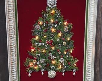 Jeweled Christmas tree on red velvet, light-up, framed,