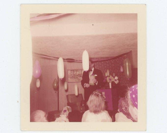 Vintage 1958 Kodacolor Print Snapshot Photo: Birthday Party Magician (78603)