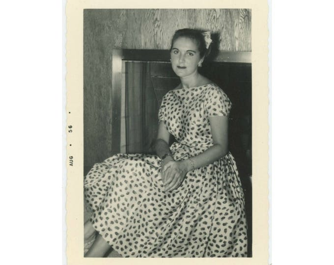 Vintage Snapshot Photo: Young Woman Seated, 1956 (79606)