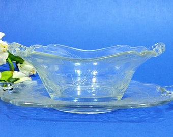 Elegant Glass Wheel Cut Mayonnaise Sauce Bowl and Underplate Ferns and Flowers