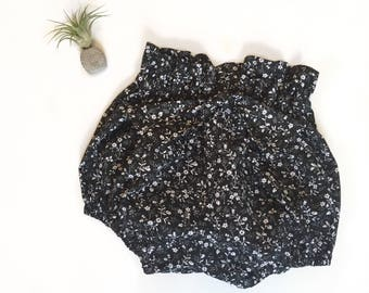 Black and White Ditzy Floral High Waisted Shorties Bloomers Ready to Ship in Size 12-18 months