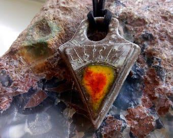 Ceramic Arrow Pendant, necklace pendant with glass inclusion