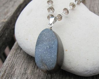 30% OFF Quartz Silver Necklace- Smoky Quartz Silver Necklaces- Gray Druzy Agate Necklaces- Statement Necklaces- Druzy Necklaces- Gifts for H