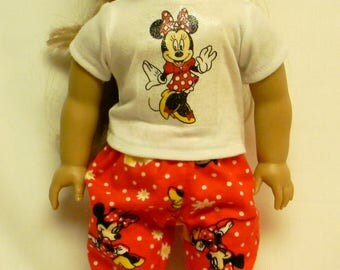 Minnie Mouse Flannel Pajamas For 18 Inch Doll Like The American Girl
