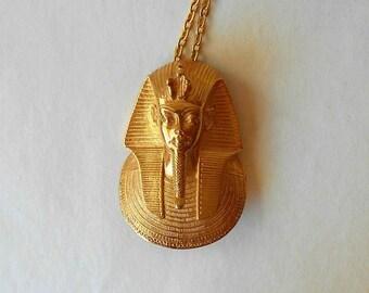Vintage KING TUT Pendant Necklace Funeral Mask Egyptian Revival
