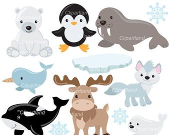 ON SALE INSTANT Download. Arctic animals clip art. Caa_3. Personal and commercial use.