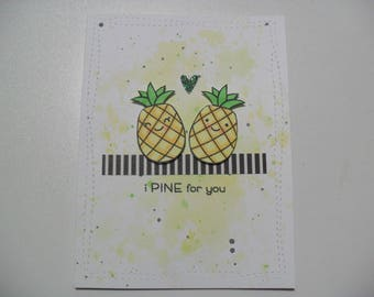 Anniversary/Love Card - Pineapple Card - I Pine for You - BLANK Inside