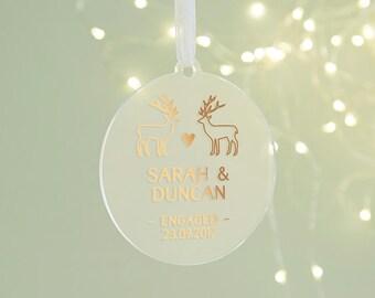 Engaged Keepsake Christmas Decoration Rose Gold Copper
