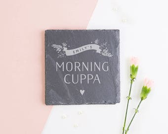 Personalised Coaster Cuppa Slate Gift