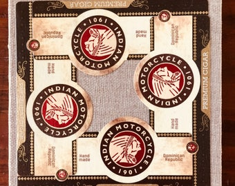 2017 Cigar Band Collage Coaster: Indian Motorcycle on Linen