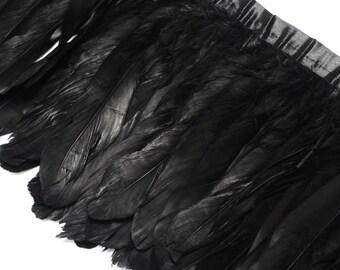 Ribbon feathers set by a satin ribbon, black, by 10 cm