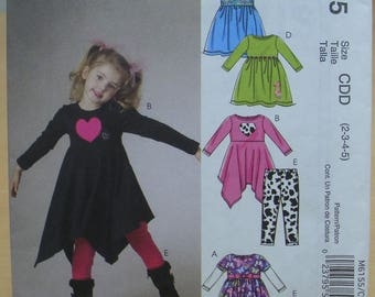 FREE SHIPPING! McCall's 6155 child's dress and leggings sewing pattern 2 3 4 5 UNCUT