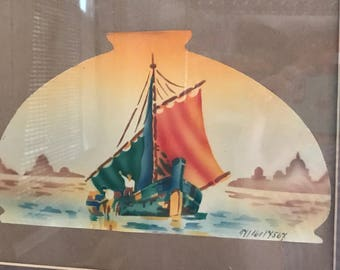 Antique Reverse Glass Orientalist Painting Sample Numbered Watercolor PERSONAL
