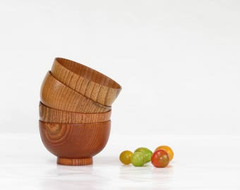 Set of 4 Mid Century Teak Footed Salad Bowls - Vintage Teak Wooden Bowl Set - Mid Century Modern Wooden Salad Bowls - Boho Decor