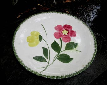 Blue ridge southern potteries large red and yellow flowered plate
