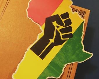 Raised Fist Africa Vinyl Sticker, Black Pride Decal, Black Lives Matter Bumper Sticker, BLM Decal, Rasta Fist Decal, African Laptop Sticker