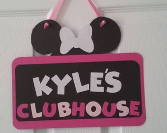 Minnie Mouse Birthday - Minnie Mouse Clubhouse Sign- Minnie Mouse Door Sign -