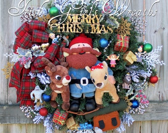 Yukon & Island of Misfit Toys Wreath, Rudolph and Clarice Reindeer Christmas Wreath- Moonracer, Charlie in Box, Misfit Doll, Hermie, Bumble