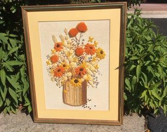 Vintage floral crewel picture