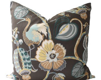Decorative Designer Tropical Fete, Brown Pillow Cover, 18x18, 20x20, 22x22 or Lumbar Throw Pillow