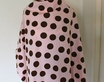 Pink fabric with Brown polka dots