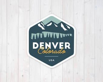 Denver Colorado Mountain Badge | Vinyl Sticker Design