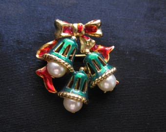 Christmas brooches, bell pin pearls holiday jewelry vintage