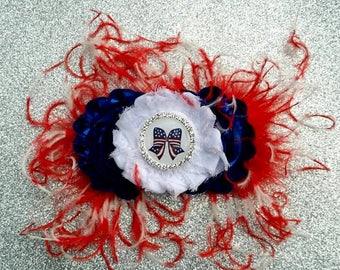4th of July Headband....Patriotic Headband.....July 4th bow...4th of july clip...Toddler Headband...Patriotic Hair Clip