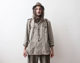 Rare Swedish Military Jacket 50s Old Aged Rusty Grey Army Jacket Parka Autumn Clothing Veste Homme