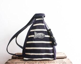 Sailor Backpack 80s Shoulder Bag Blue Striped Hand Bag Womens Pouch Sac A Dos Femme Bleu