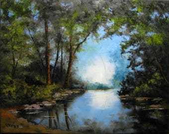 Original Landscape River Reflection Oil Painting 16x20 S Prather with C.O.A.