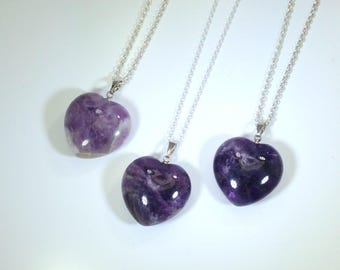 Amethyst Necklace Amethyst Pendant Heart Necklace Amethyst Heart on Sterling Silver Amethyst Jewelry February Birthstone