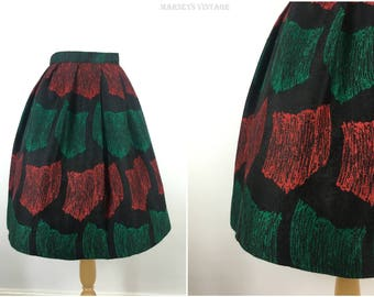 Vintage 1950s Skirt - 50s Wool Pleated Skirt - Tulip Shape Full Midi Skirt - Rockabilly Pinup - X Small xs - UK 6 / US 2 / EU 34