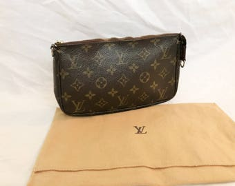 Authentic Vintage Louis Vuitton Monogram Canvas Makeup Pochette Cosmetic Clutch Bag Change Purse Accessories LV Dust Bag