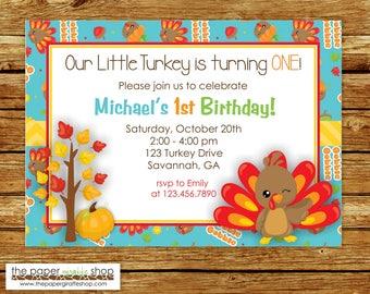 Little Turkey Birthday Invitation   Thanksgiving Birthday Invitation   Our Little Turkey Birthday Invitation   First Birthday   Fall