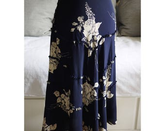 Vintage 1930s navy floral skirt xs