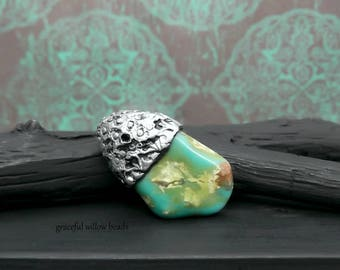 Antique Silver Turquoise Gemstone Nugget Polymer Capped Pendant Focal - Bohemian Rustic Pendant - Pkg. 1