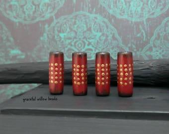 Red Brown Brass Polka Dot Wood Tube Bead - Hand Painted Rustic Bohemian Wood Bead - 20x7mm - Pkg. 4
