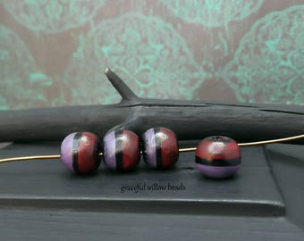 Two Tone Hand Painted Round Wood Bead - Red Purple Black - Rustic Bohemian Cord Hemp Bead - 10mm - Pkg. 4